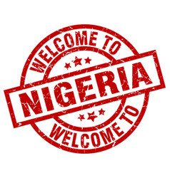 Welcome to nigeria red stamp vector