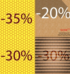 20 30 icon set of percent discount on abstract vector