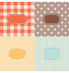 Set of four patterned backgrounds with frames vector image