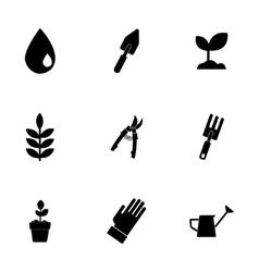 black gardening icons set vector image