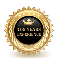 Hundred and five years experience badge vector