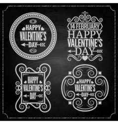 Valentines day chalk set vector