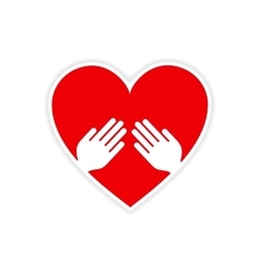 Icon sticker realistic design on paper heart hand vector