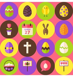 Pink happy easter seamless pattern with circles vector