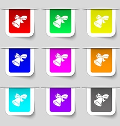 Bell icon sign set of multicolored modern labels vector