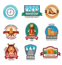 Hiking emblem set vector