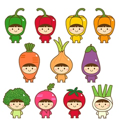 Set of kids in cute vegetables costumes vector