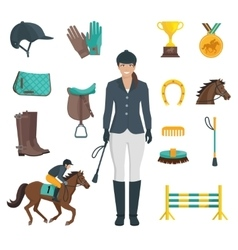 Jockey icons flat vector