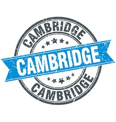 Cambridge blue round grunge vintage ribbon stamp vector