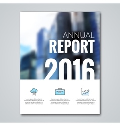 Annual report design template with blur background vector