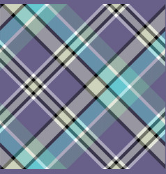 Blue gray color check plaid seamless fabric vector