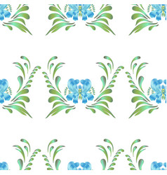 blue seamless flower pattern vector image