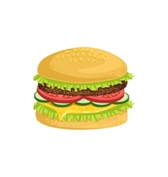 Burger Street Food Menu Item Realistic Detailed vector image