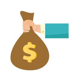 Businessman hand holding a money bag vector