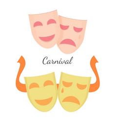 carnival drama masks symbols of theatre play vector image