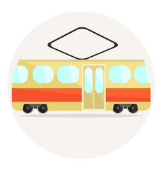 Cute colorful flat tram icon vector