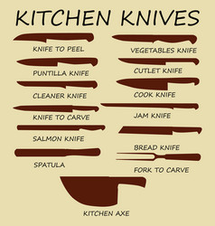 Cutting knives set poster butcher diagram vector