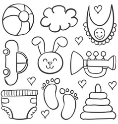 Doodle of element baby set with toy vector