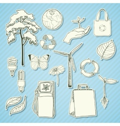 Ecology and environment stickers white vector image vector image