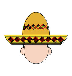 Folk hat mexican culture related icon image vector
