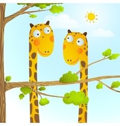 Fun Cartoon Baby Giraffe Animals in Wild for Kids vector image vector image