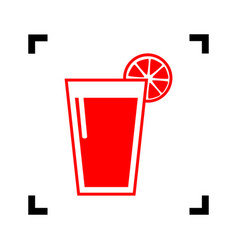 Glass of juice icons red icon inside vector