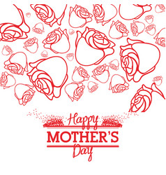 Happy mothers day roses style card line vector