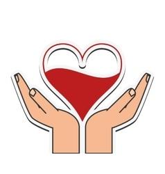 heart hand blood donation design vector image