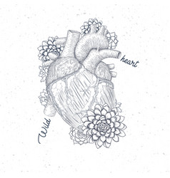 human flora heart hipster tattoo art medical vector image