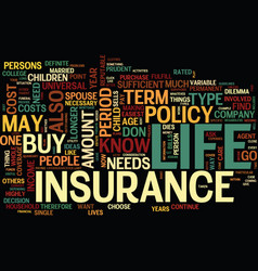 Life insurance quandary text background word vector