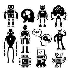 Robots cyborgs androids and artificial vector image vector image