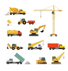 Set of heavy construction machines vector