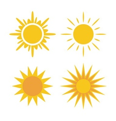 Sun icons set collection yellow signs vector