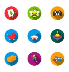Toys set icons in flat style big collection of vector