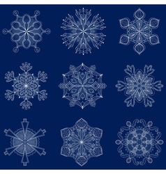 Vintage snowflake set in zentangle style 9 vector
