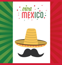 Viva mexico greeting hat mustache flag background vector
