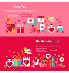 Valentine day website banners vector