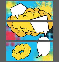 comic balloon horizontal blue sun banner vector image