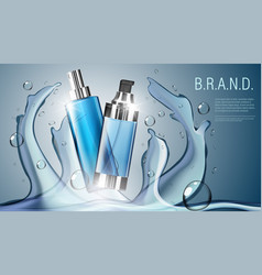 3d realistic cosmetic product spray bottle package vector