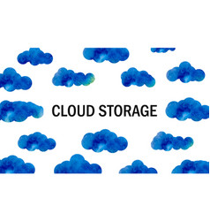Cloud storage background with clouds in the sky vector