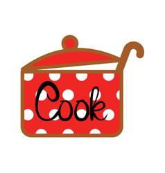 red saucepan icon vector image