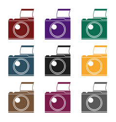 Photocamera icon in black style isolated on white vector