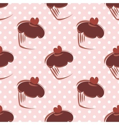 Tile chocolate cupcake and polka dots pattern vector image