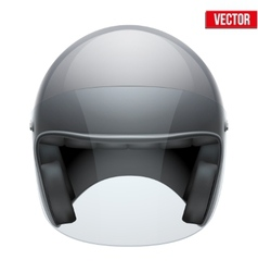Black motorbike classic helmet with clear glass vector