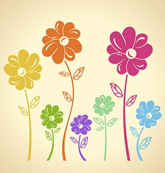 Colourful flowers pattern background green yellow vector