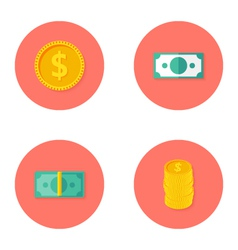 Money circle flat icons set vector