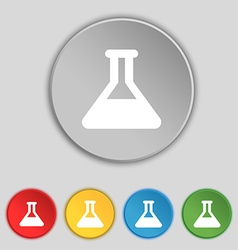 Conical flask icon sign symbol on five flat vector