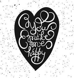 Heart with hand drawn typography poster romantic vector