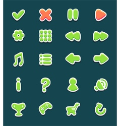 Set with interface buttons with icons for game vector