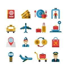 Airport and airlines services icons vector
